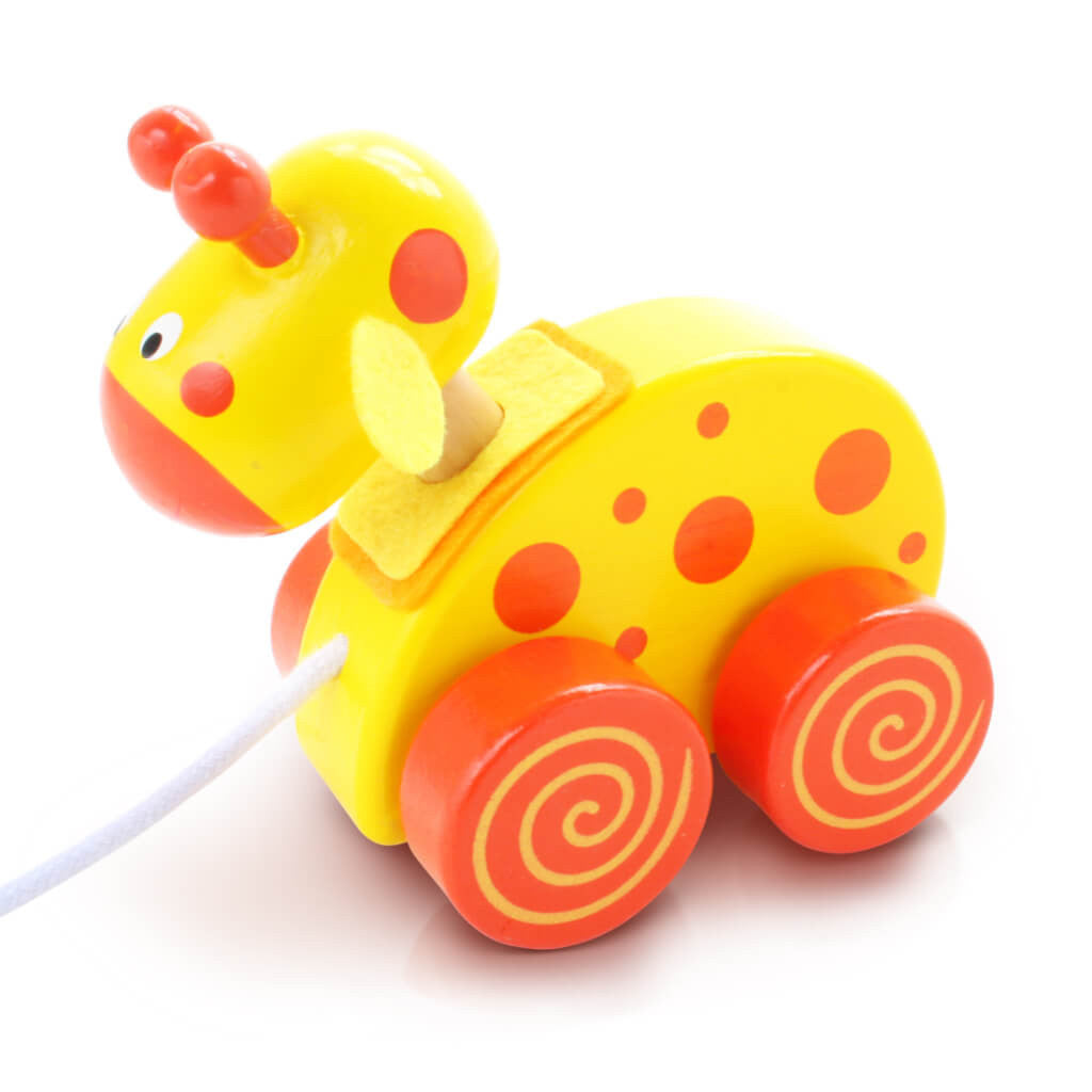 Left | Personalised Yellow Giraffe Wooden Pull Along Toy