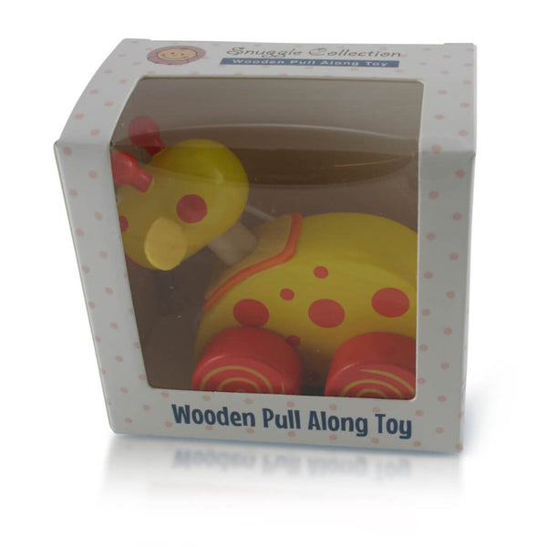 Boxed | Personalised Yellow Giraffe Wooden Pull Along Toy