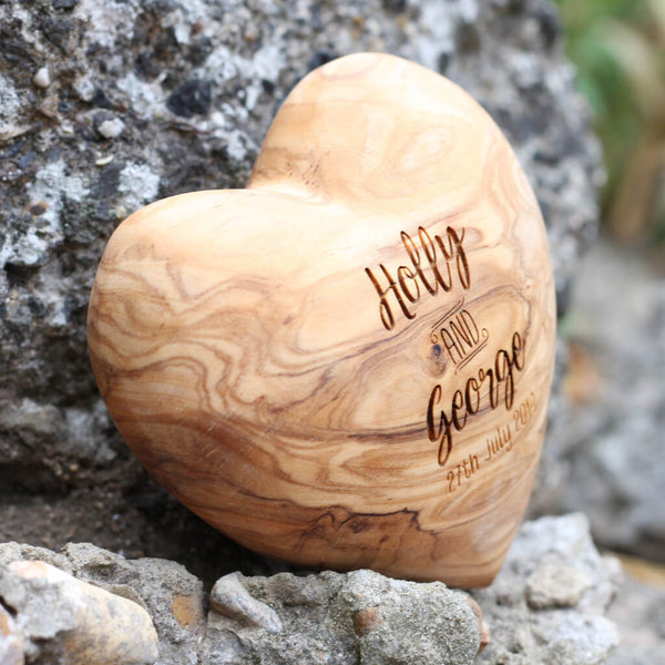 Personalised Olive Wood Wedding Heart