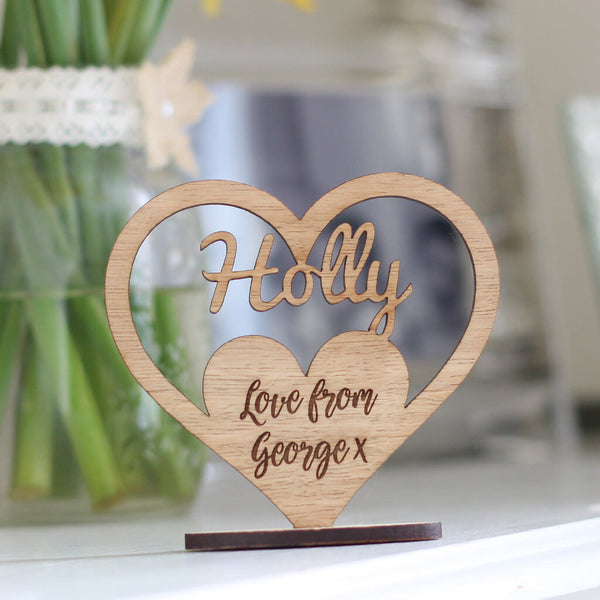 Personalised Keepsake Wooden Name Ornament Heart With Stand