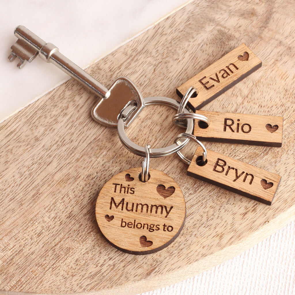 Personalised Oak 'This Mummy Belongs To...' Keyring