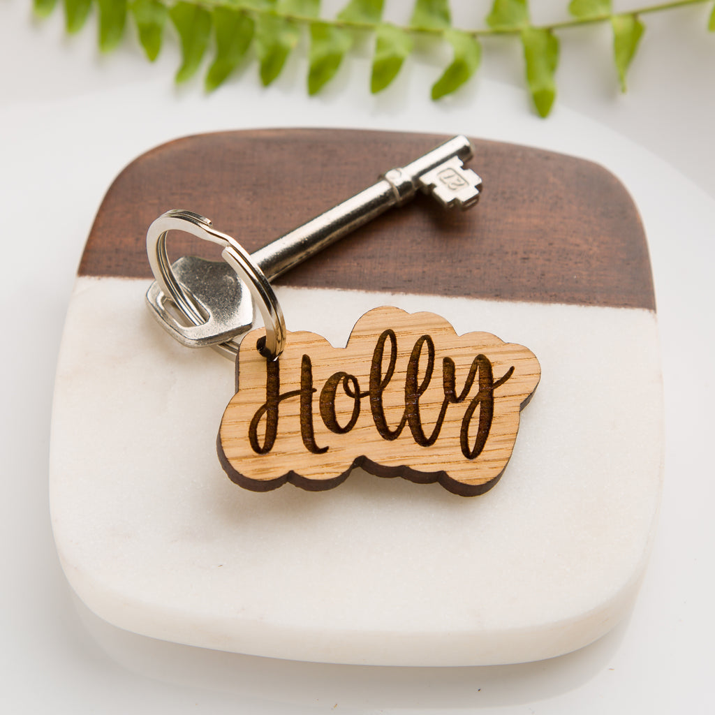 Personalised Oak Name Keyring