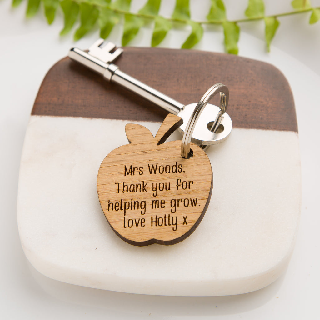Teacher's 'Helping me grow' Personalised Apple Key Ring