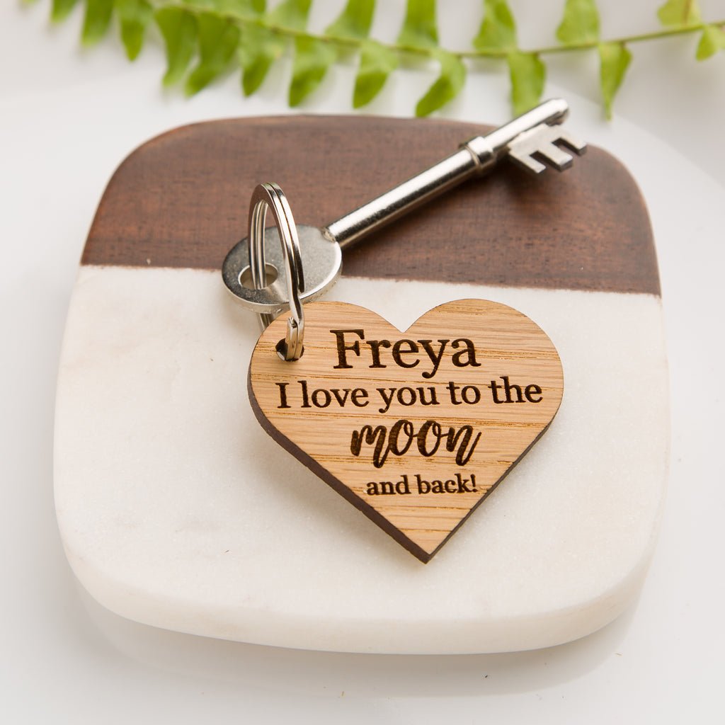 'I love you to the moon and back' Personalised Wooden Heart Keyring