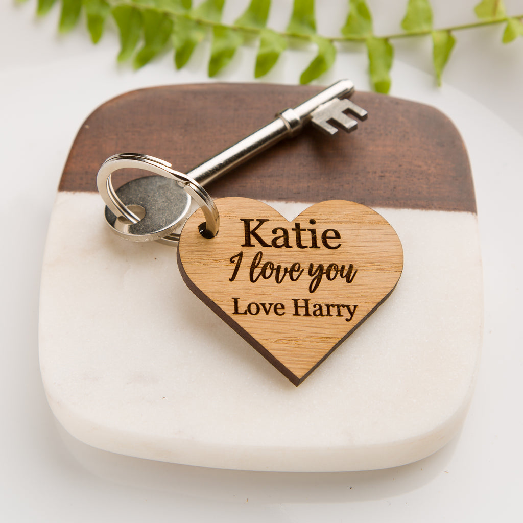'I Love You' Personalised Wooden Heart Keyring