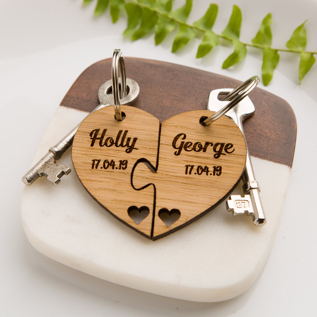 Personalised Jigsaw Heart Oak Keyring - Name & Date