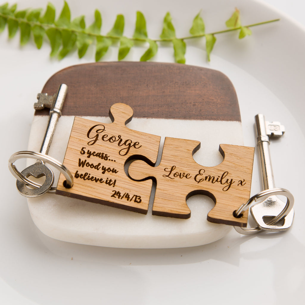 Personalised Jigsaw Oak Keyring - Wood You Believe It