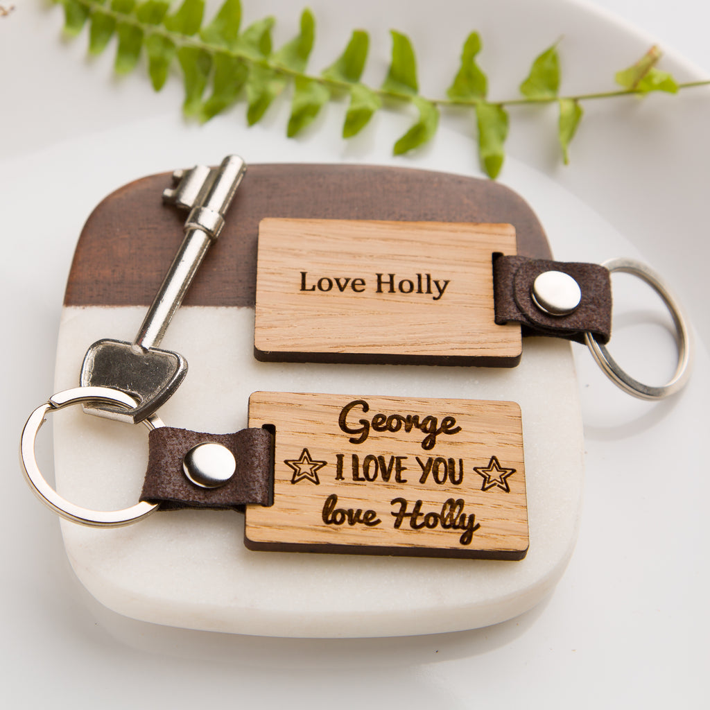'I Love You' Personalised Wooden Keyring - PU Vegan Leather