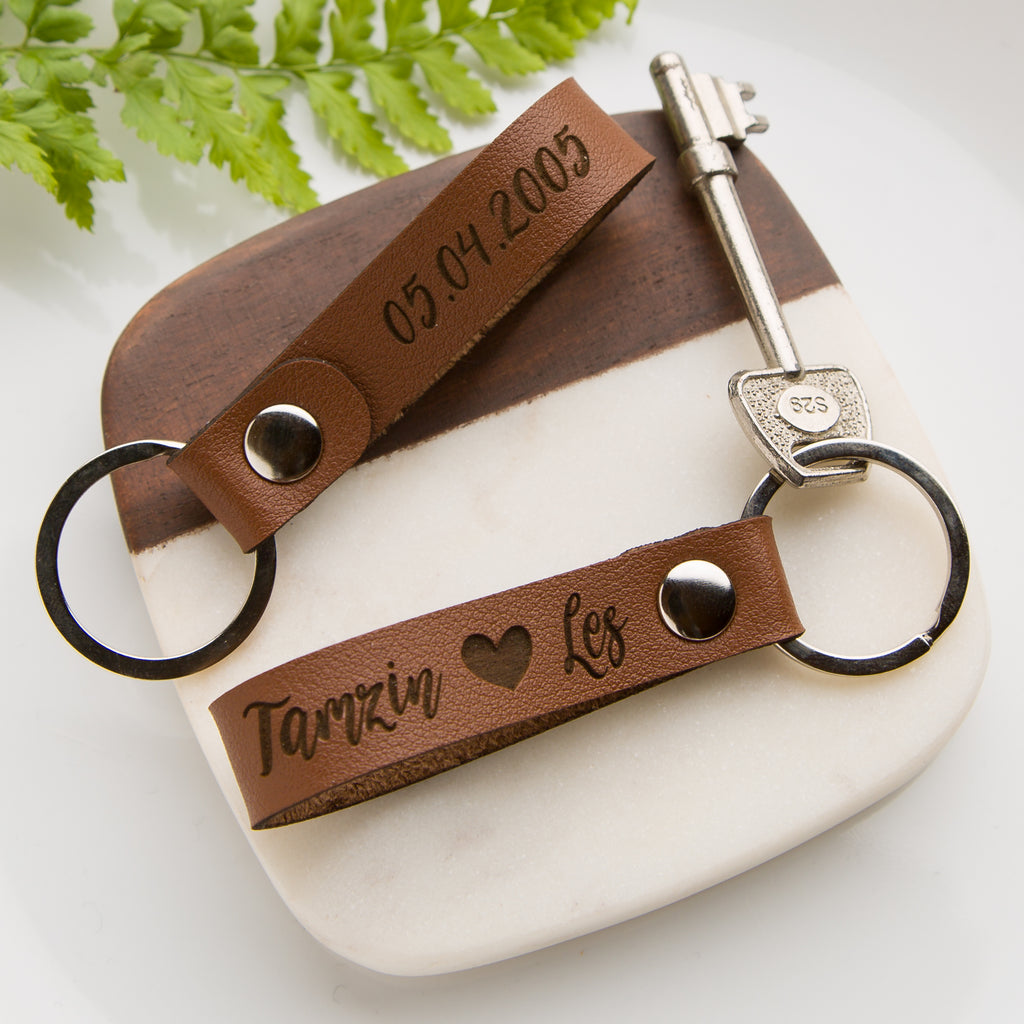 Personalised Vegan Leather Name And Heart Loop Keyring, Fathers Day, New Home, First Date