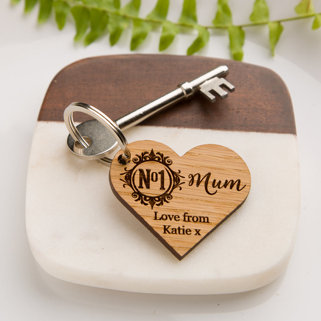 'No 1 Mum' Personalised Wooden Heart Keyring