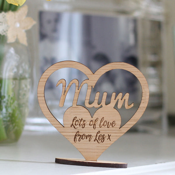 Personalised Mum Keepsake Wooden Ornament Heart With Stand