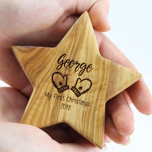 Personalised First Christmas Olive Wood Star With Nine Images
