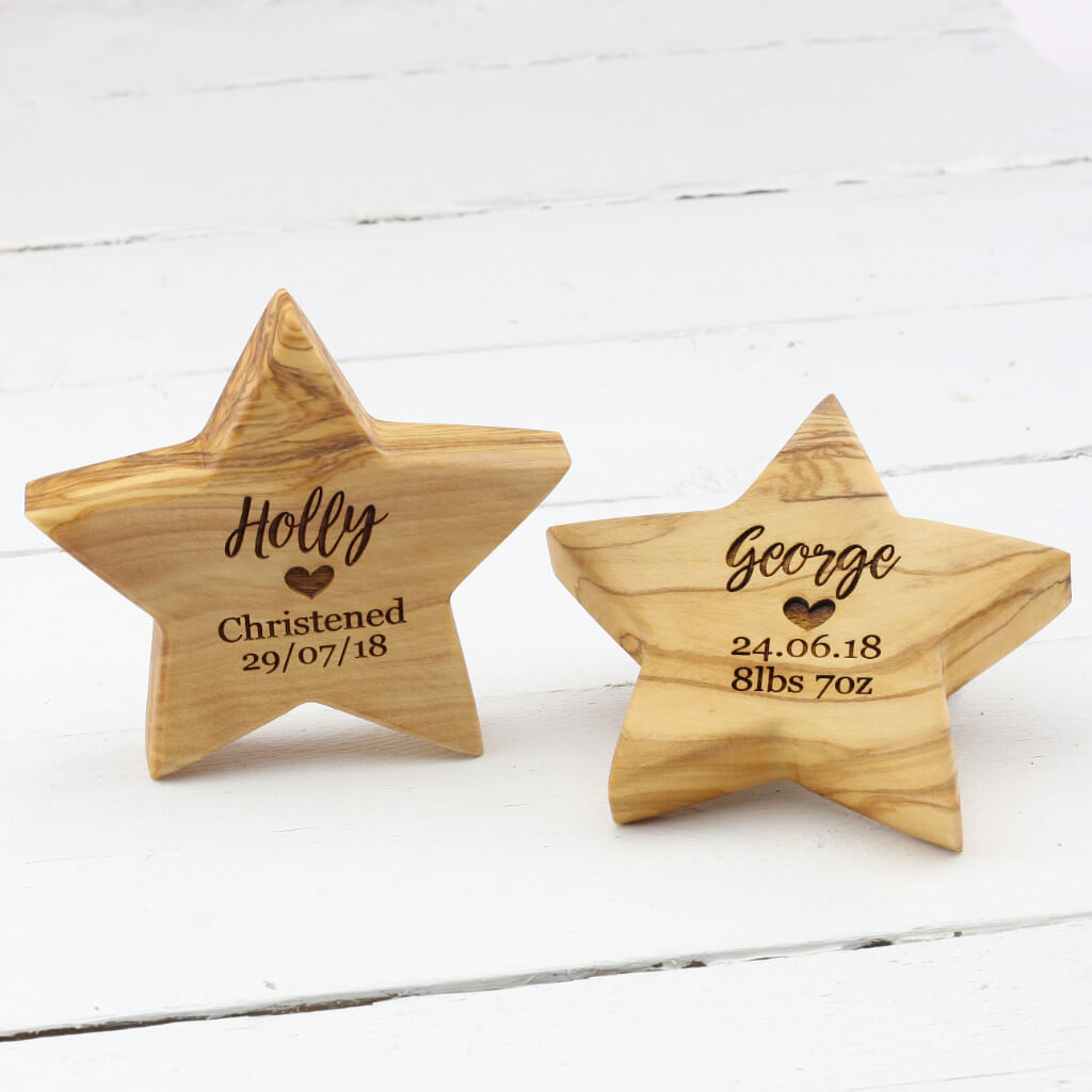 Personalised Olive Wooden Birth Star