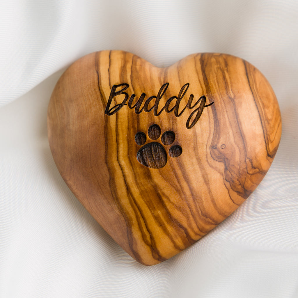 Pet Memorial Olive Wooden Heart, Dog or Cat Paw Print, Pet Sympathy Gift