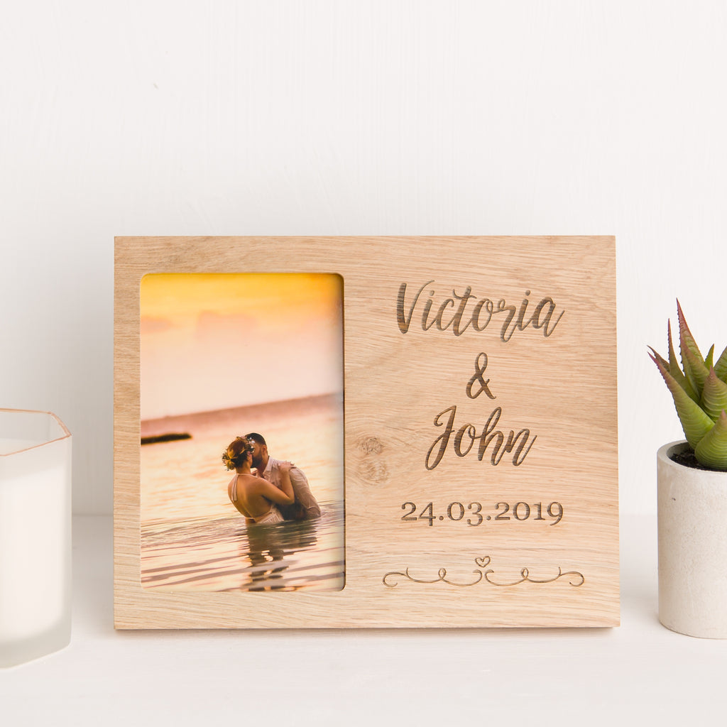 Personalised Name And Date Photo Frame, Solid Oak wood, Mr and Mrs, Newlywed Gift, Wedding Day Memory