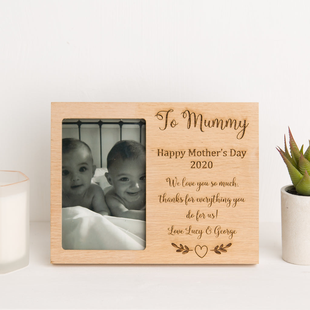 Mummy Photo Frame, Solid Oak, Mothers Day Gift, Nanny, Mum Memory, New Baby Gift