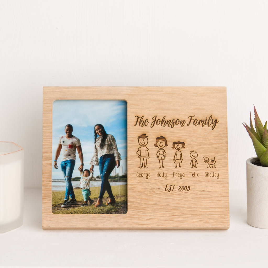 Family Photo Frame, Solid Oak, Mothers Day Gift