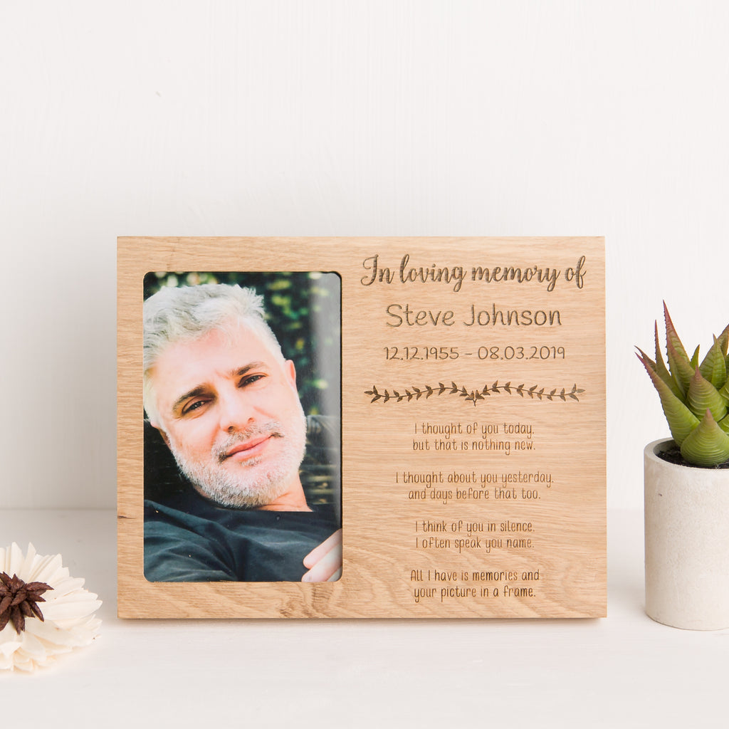 Loving Memory Photo Frame, Solid Oak, Bereavement Gift, Sympathy and Remembrance