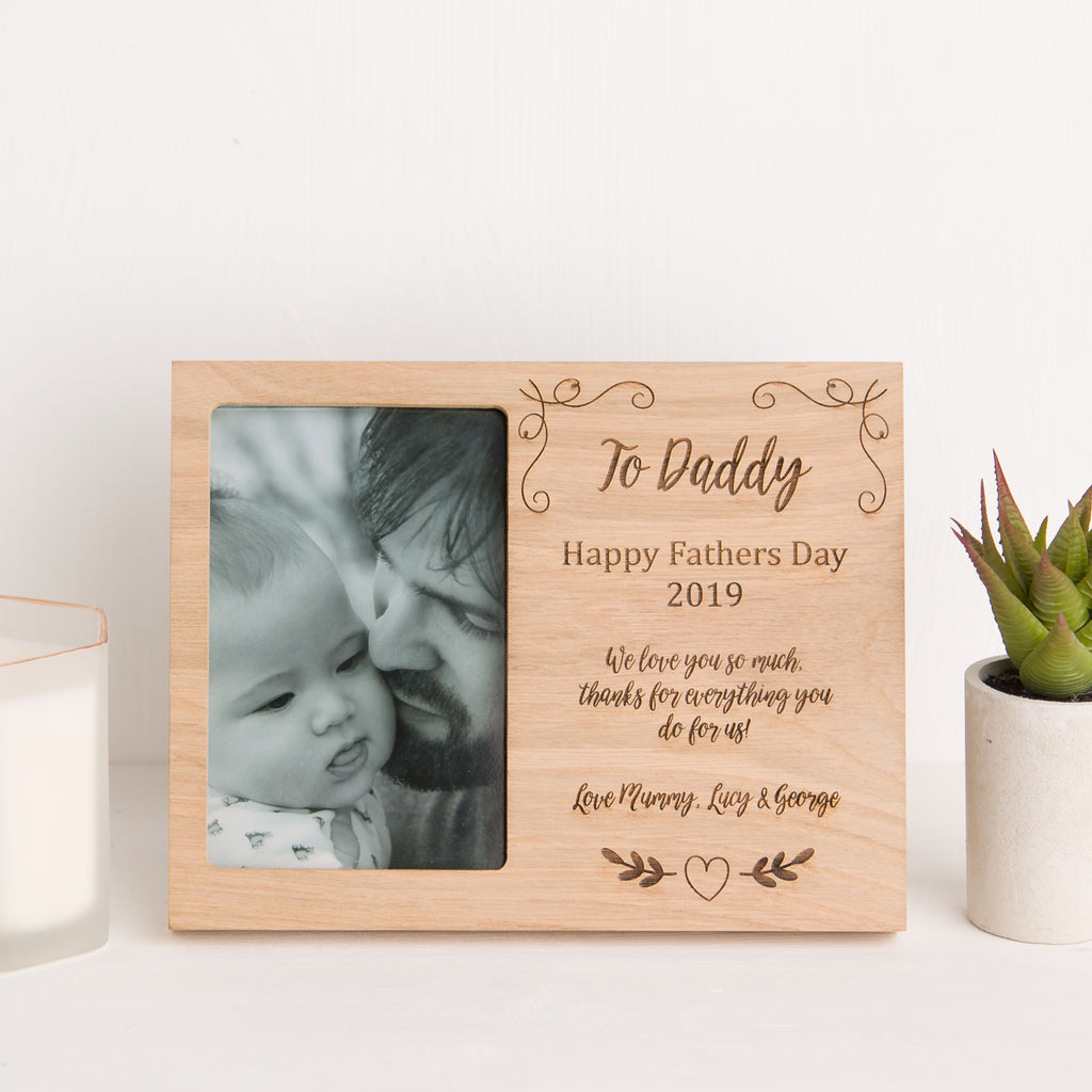 Daddy Photo Frame, Solid Oak, Fathers Day Gift, Grandad, Dad Memory, New Baby Gift
