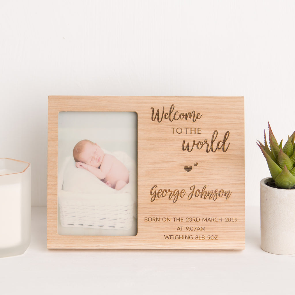 Welcome to the World Photo Frame, Solid Oak, New Baby Gift, Christening Gift