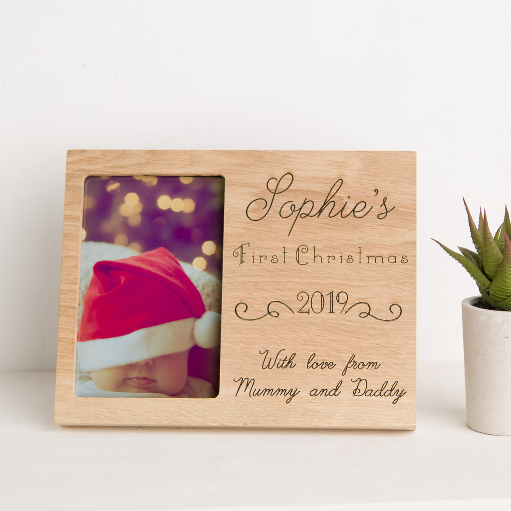 Baby's First Christmas Photo Frame, Solid Oak, New Baby Gift, Laser Engraved Gift
