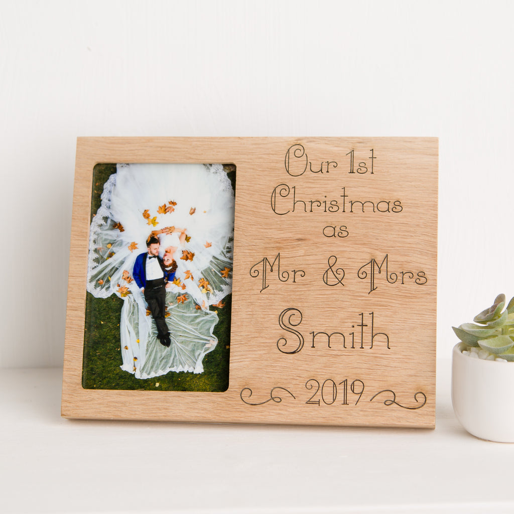 Our First Christmas Photo Frame, Solid Oak, First Christmas as Mr & Mrs, Anniversary gift