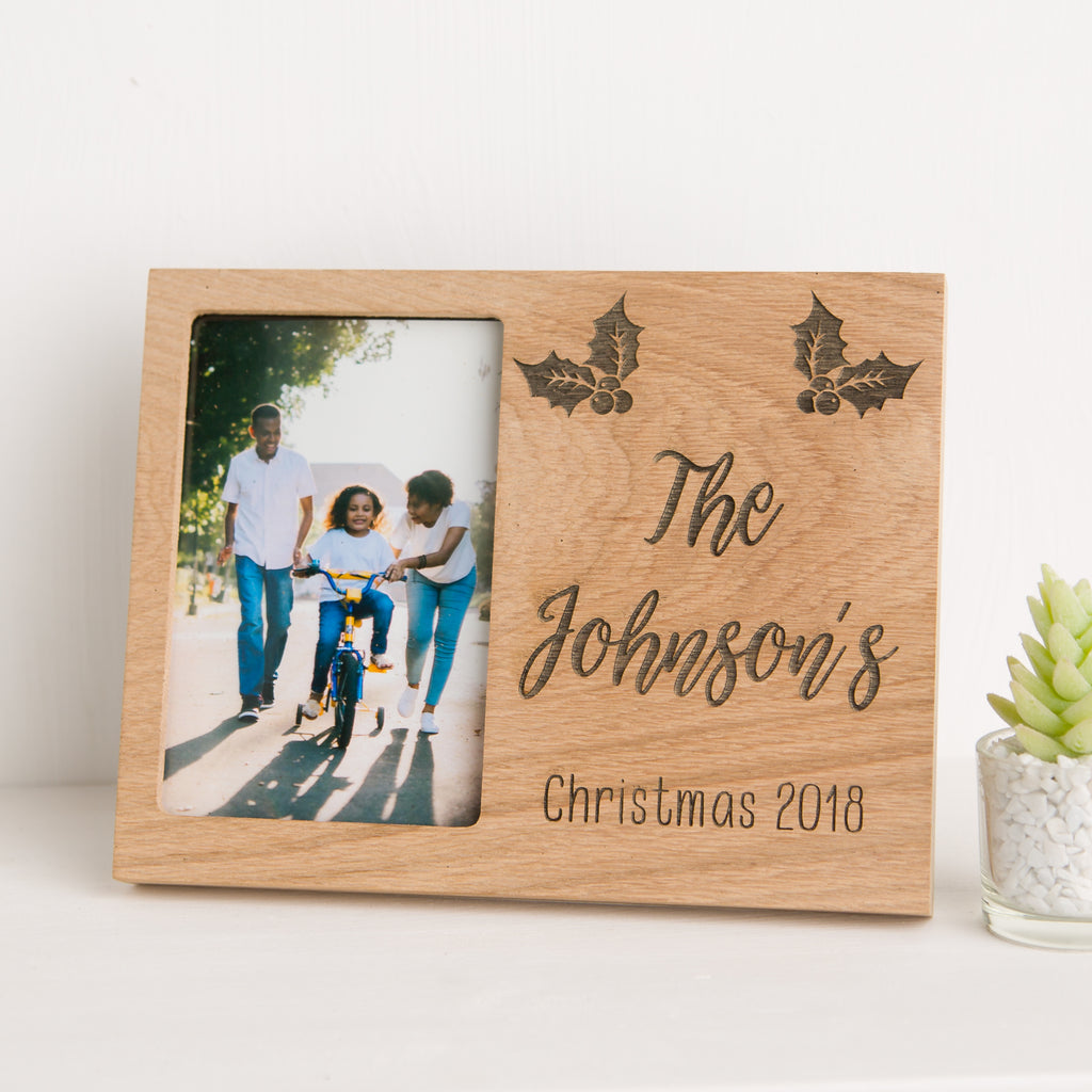 Family Christmas Photo Frame, Solid Oak, Personalised Christmas Decoration