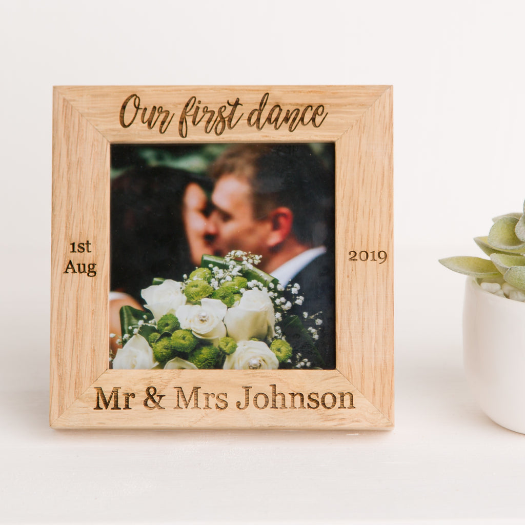 Our First Dance Photo Frame, Solid Oak Wood, Wedding Song, Newlywed Keepsake Gift, Wedding Day Memory, Fifth Year Anniversary