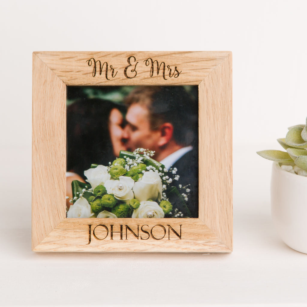 Mr & Mrs, Mr and Mr or Mrs and Mrs Photo Frame, Solid Oak Square, Wedding Day Gift, Anniversary Gift, Wedding Memory