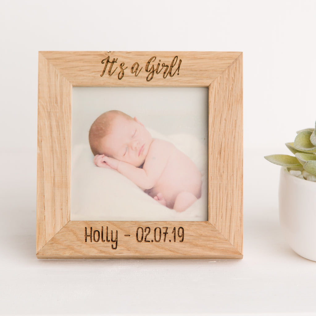 It's a Girl Photo Frame, Solid Oak Square, Christening Gift, New Mother Gift, New Mummy, New Baby Gift