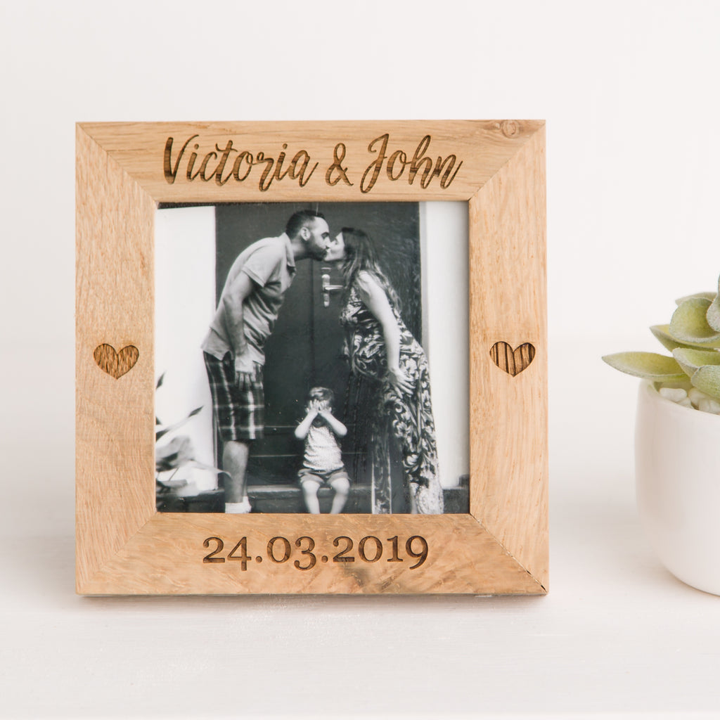 Special Date Photo Frame, Solid Oak Square, Wedding Day Gift, Fifth Anniversary Gift Wood, Wedding Memory, Engagement Gift