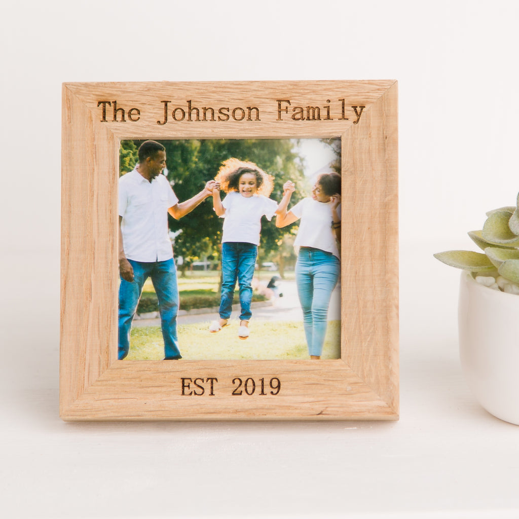 Family Name Photo Frame, Solid Oak Square, Fathers Day Gift, New Home Gift, Family Memory