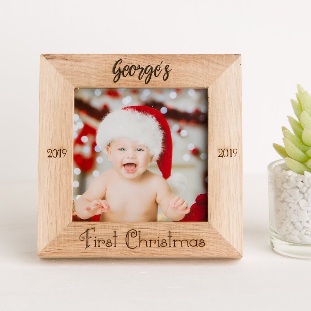 Baby's First Christmas, Square Oak Photo Frame, Christmas Gift, Newborn