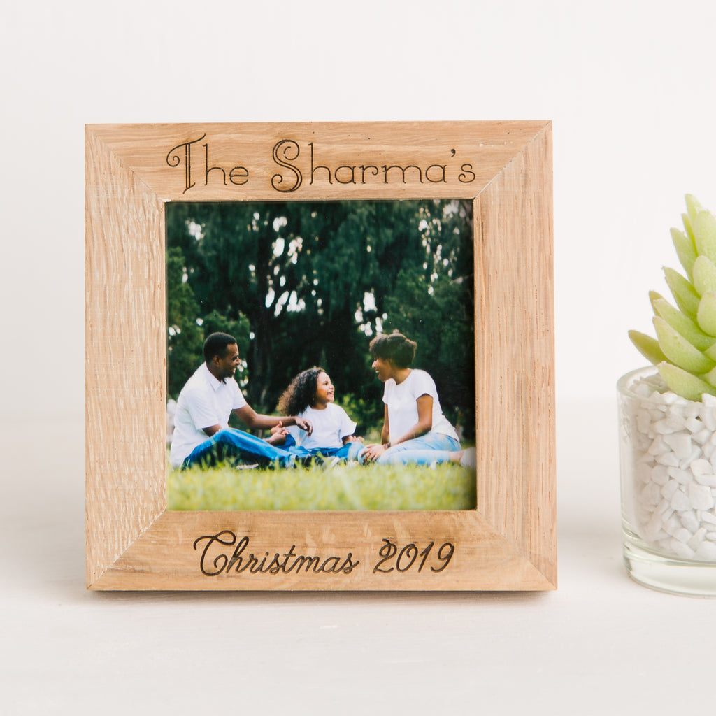 Family Christmas Photo Frame, Solid Oak Square, First Christmas, Wedding Memory, Engagement Gift