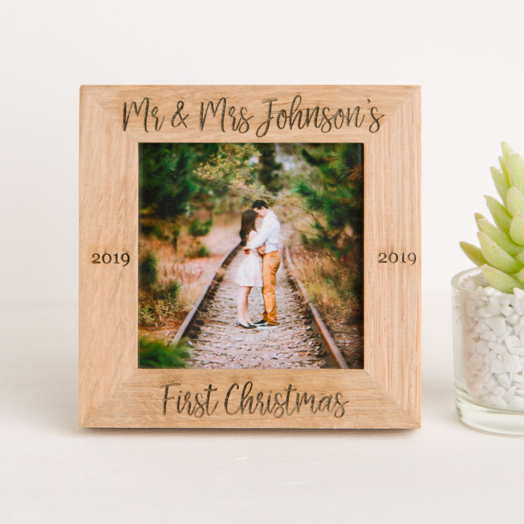 Personalised First Christmas Married Square Oak Photo Frame, Mr &Mrs, Keepsake Gift