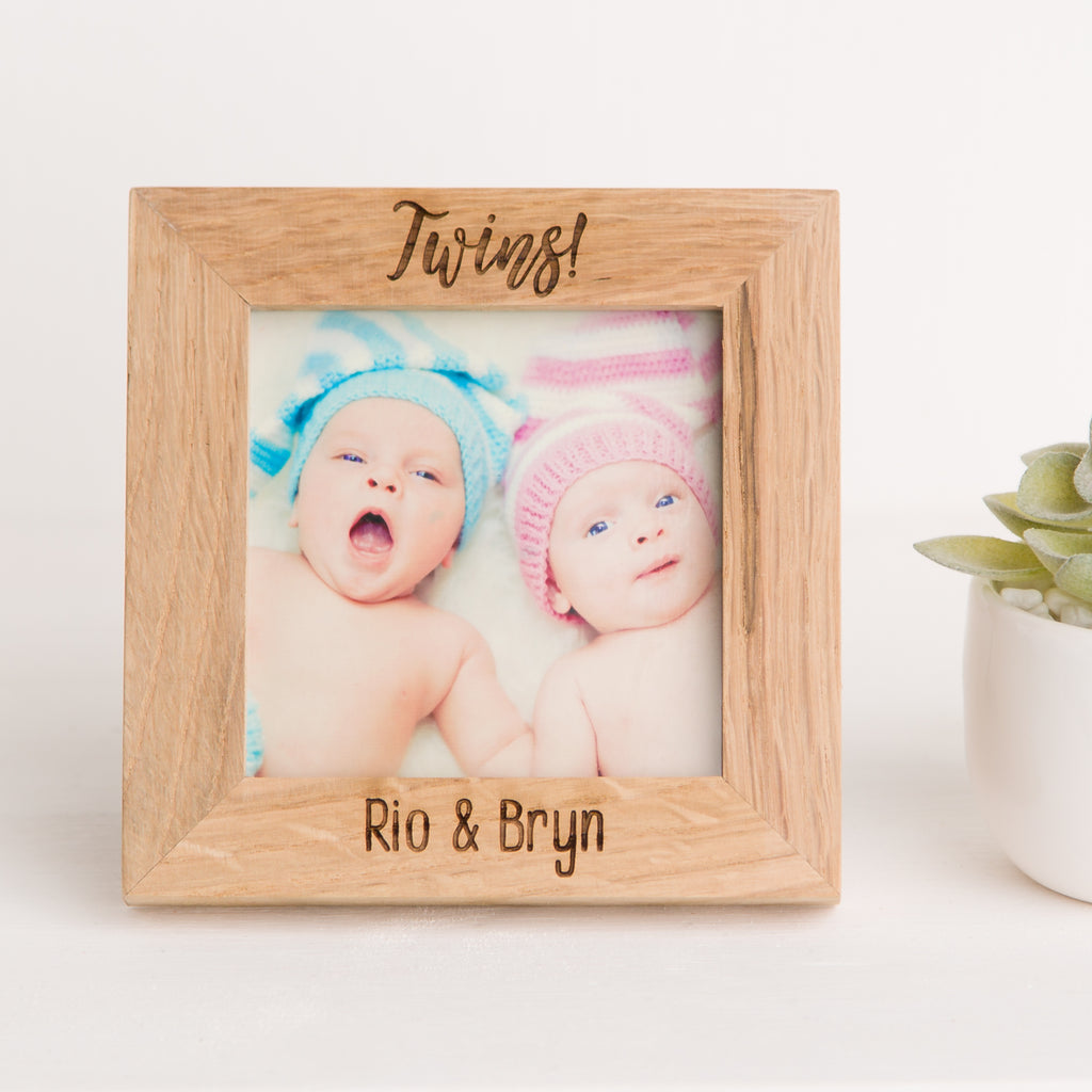Twins Photo Frame, Solid Oak Square, Christening Gift, New Mother Gift, New Mummy, New Baby Gift