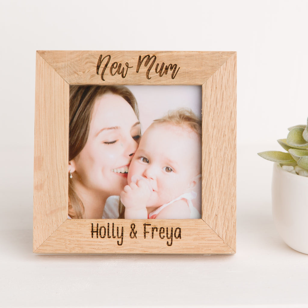 New Mum Photo Frame, Solid Oak Square, Christening Gift, New Mother Gift, New Mummy, New Baby Gift