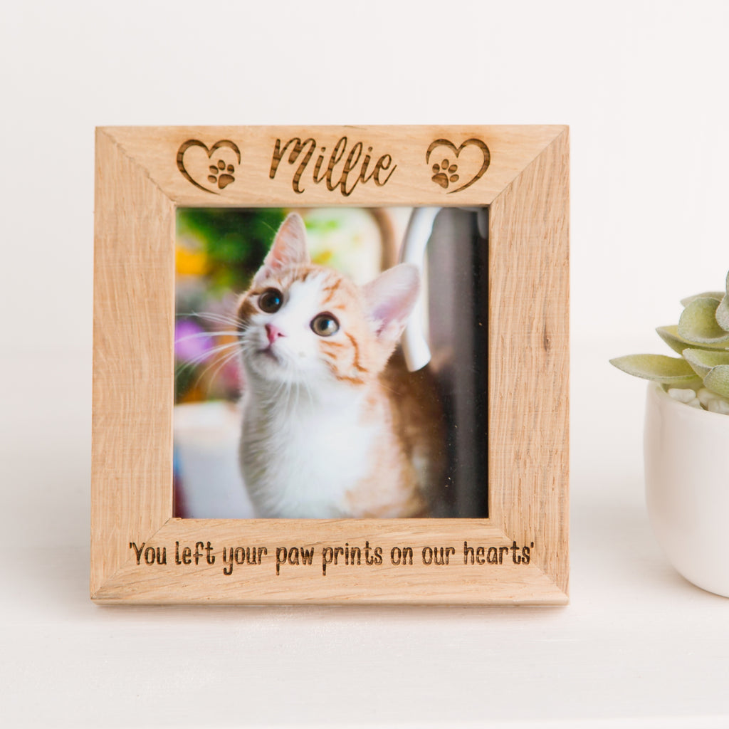 Paw Print with Heart Square Oak Photo Frame, Pet Memorial, Dog or Cat Loss, Rainbow Bridge, Paw Print