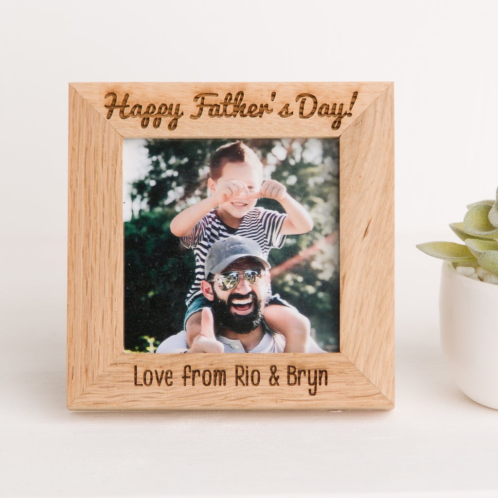 Father's Day Photo Frame, Solid Oak Square, Father's Day Gift, Grandad, Dad Memory, New Baby Gift
