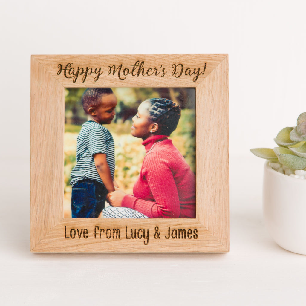 Mother's Day Photo Frame, Solid Oak Square, Mothers Day Gift, Nanny, Mum Memory, New Baby Gift