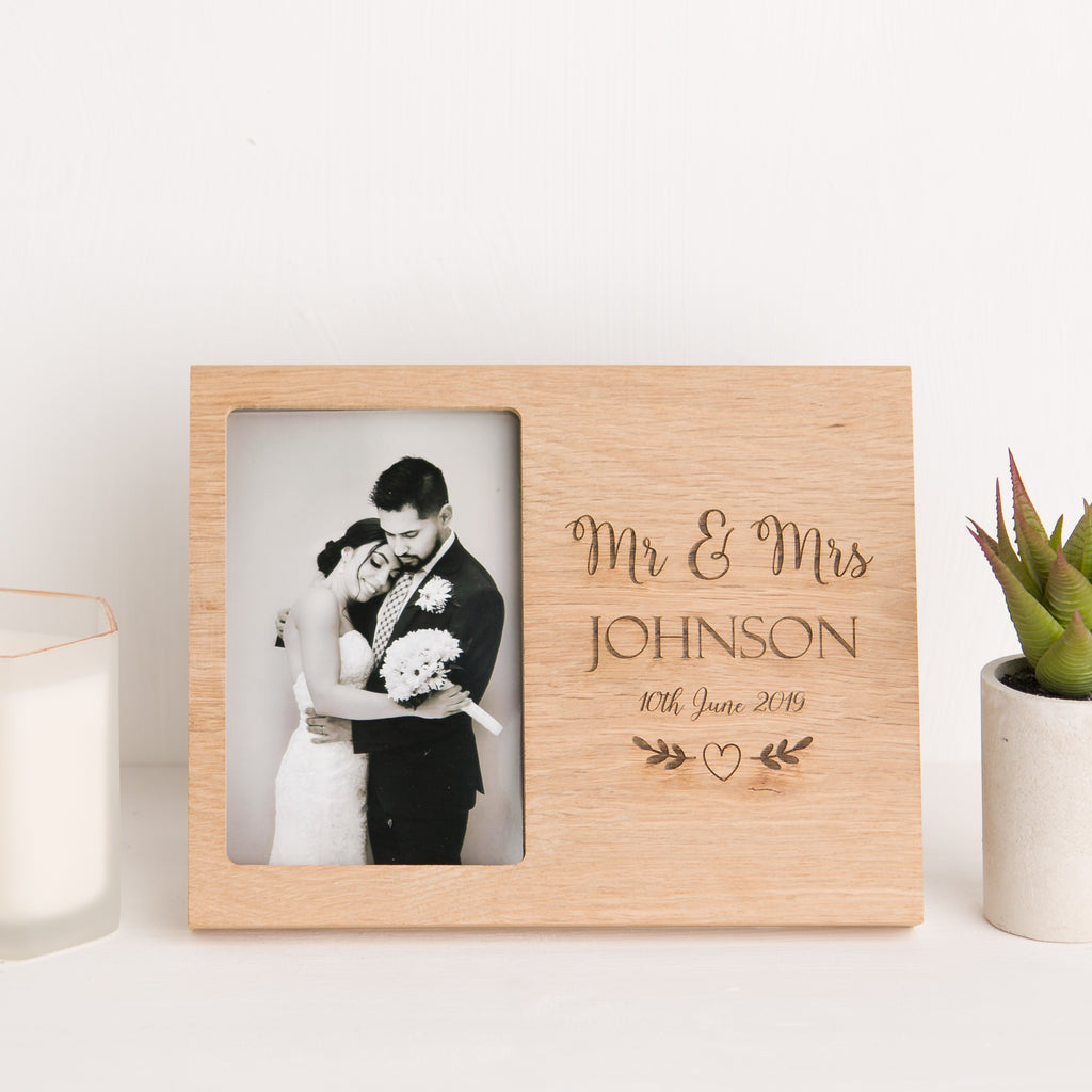 Personalised Wedding Date Photo Frame, Solid Oak, Mr and Mrs, Newlywed Keepsake Gift, Wedding Day Memory