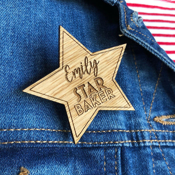 Personalised Star Baker Badge, Bake Off Brooch