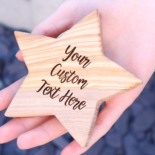 Custom Personalised Olive Wooden Star