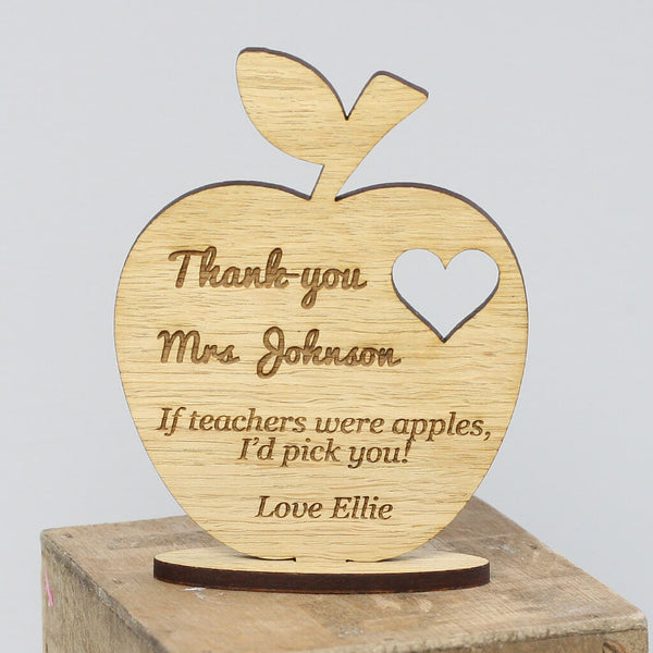 Personalised Teacher's Keepsake Wooden Ornament Apple With Stand