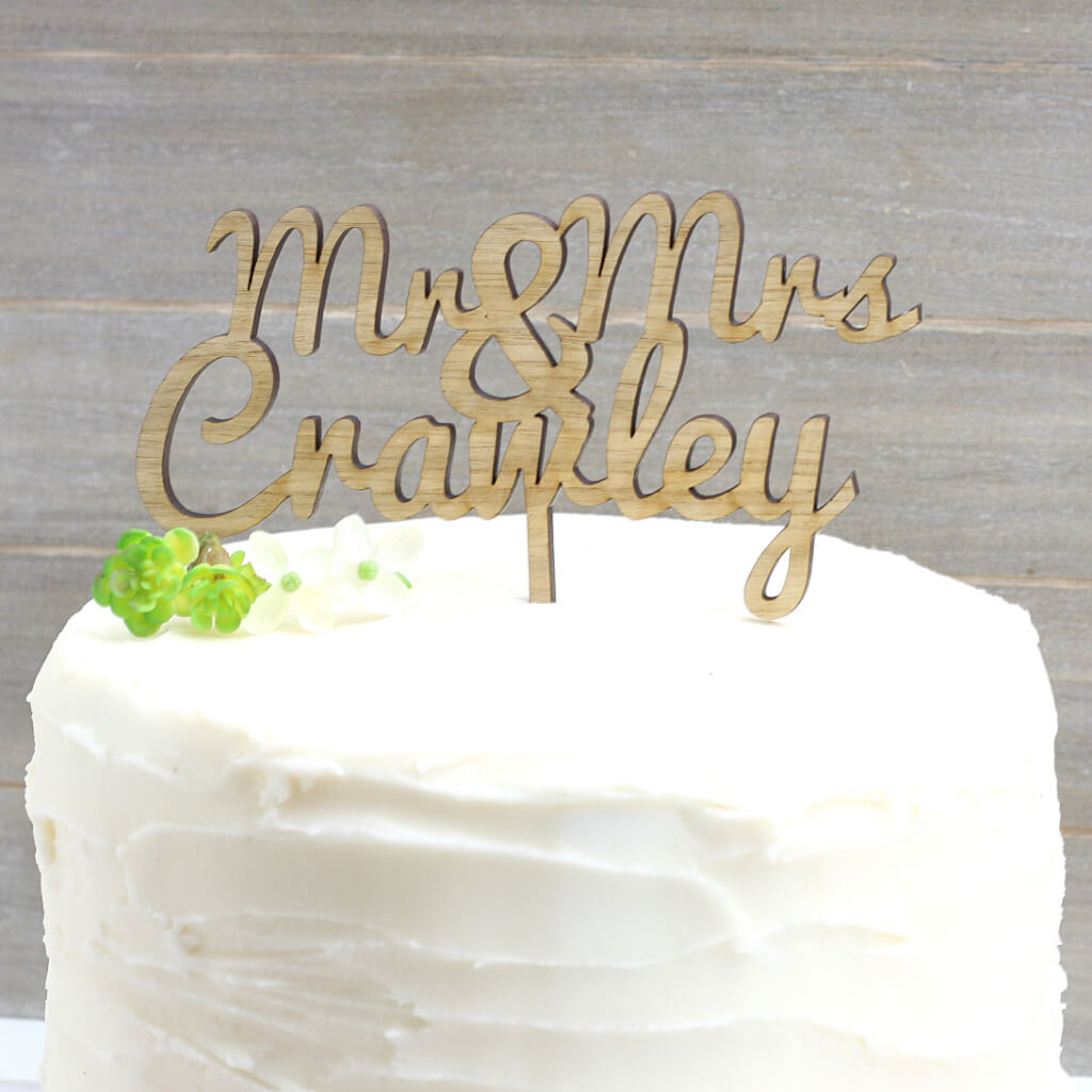 Mr and Mrs Oak Personalised Wood Cake Topper