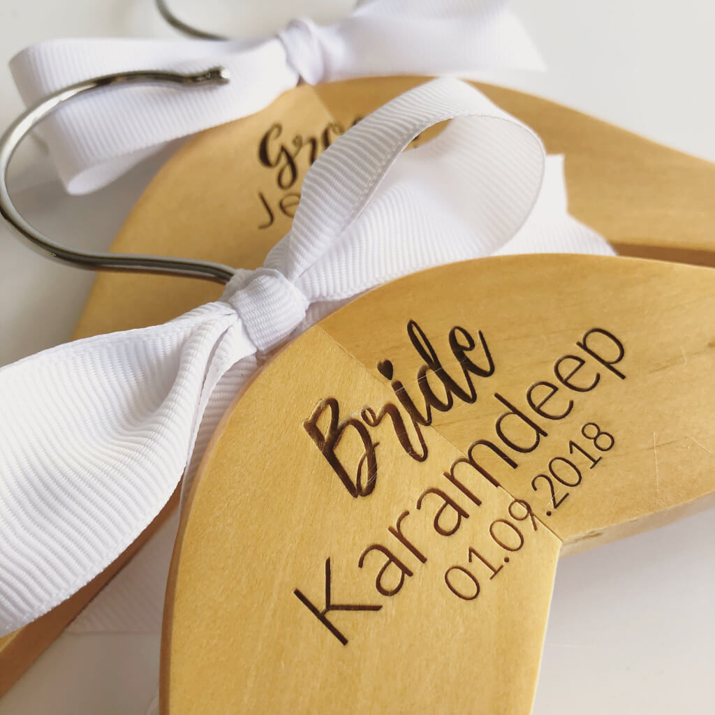 Personalised Wooden Wedding Dress Hanger  - Centre Design
