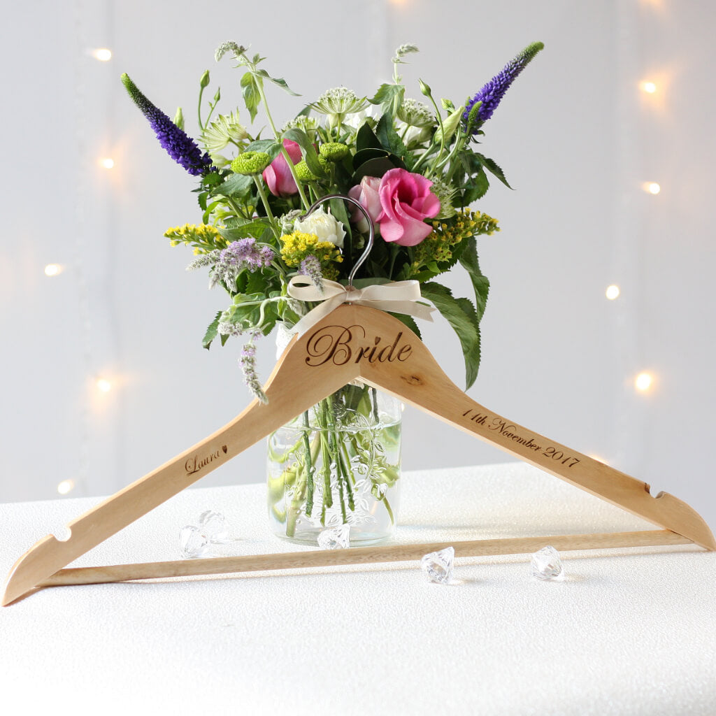 Personalised Bride / Groom Wooden Wedding Hanger