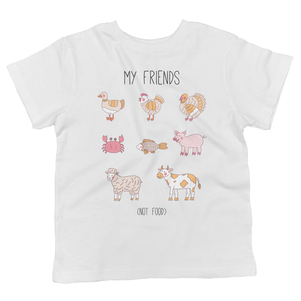 Friends Not Food Vegan Animals Kids Organic Cotton Shirt in White