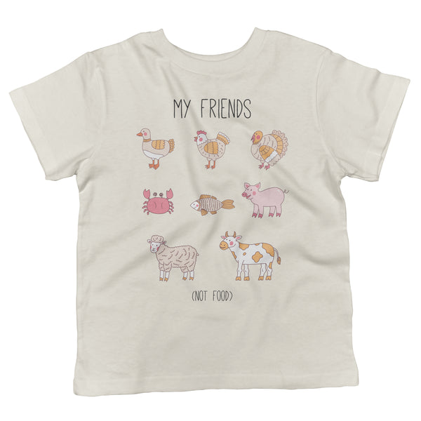 Friends Not Food Vegan Animals Toddler Organic Cotton Shirt in Natural