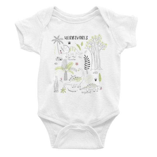 Herbivore Dinosaur Vegan Animal Lovers Babies Baby Infant Onesie Organic Cotton